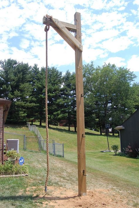 One fan used QUIKRETE® to set the post for this outdoor home rope climbing structure. #DIY #OutdoorProjects #HomeImprovement
