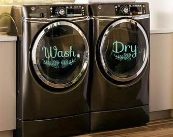 Wash Dry Decals For Washers And Dryers Laundry Room Decor Etsy