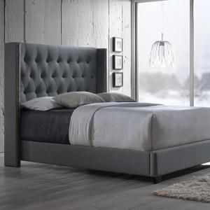 Baxton Studio Katherine Transitional Gray Fabric Upholstered Queen Size Bed 28862 6278 Hd King Upholstered Bed Queen Size Bed Sets Upholstered Beds