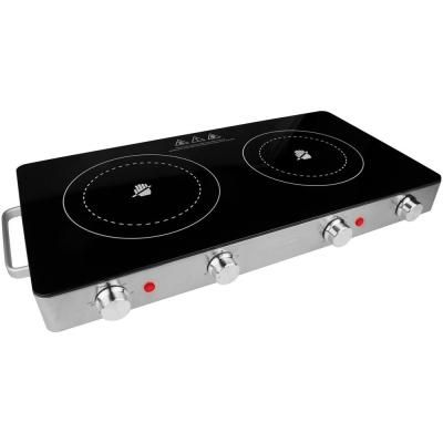 Brentwood Appliances 2 Burner 6 In Black Infrared Electric Countertop Grill Hot Plates Double Burner Induction Heating Infrared Heating