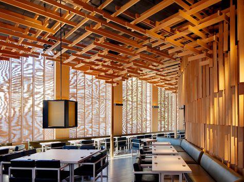 Stock Photo - Sake No Hana, London, United Kingdom. Architect: Kengo Kuma and Associates, Restaurant interior