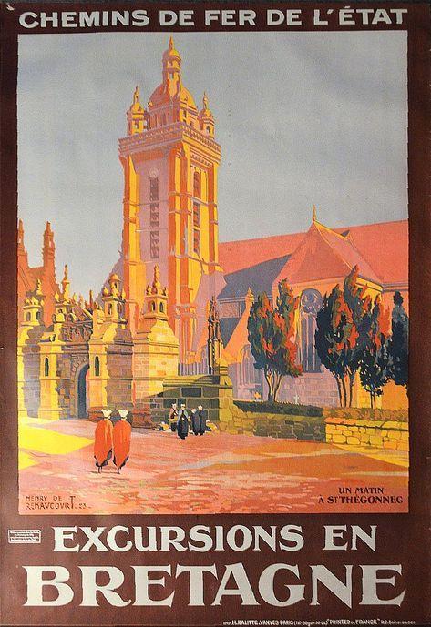 Art Deco French Travel Poster Chemin De Fer De L Etat Excursions De Bretagne Chateau De Fougeres Les Affiches Francaises D Epoque Affiches Anciennes Affiches Retro