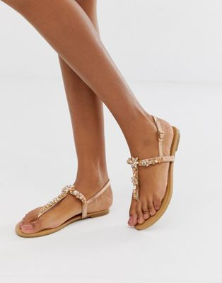 New Womens Flat Diamante Sandals Slingback Embellished Comfy Holiday Shoes Sizes