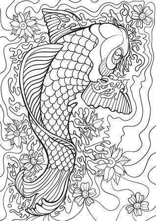 Koi Coloring Illustration Wallpaper Mural Fish Coloring Page