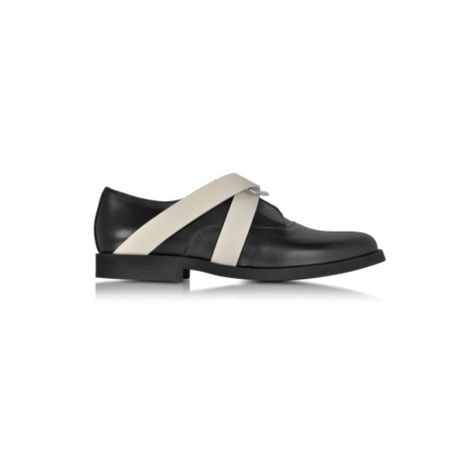 Office Flapjack Brogue Lace Up Flats Black Leather