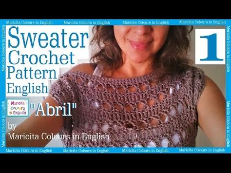 "Sweater off Shoulder Crochet ""Abril"" (1) by Maricita Colours in English Blouse…"