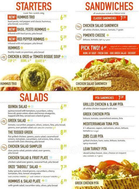 Zoes Kitchen Menu Pdf In 2020 Zoes Kitchen Chicken Salad Sandwich Hummus Chicken Salad