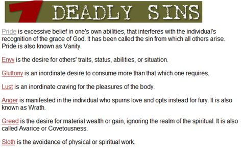 7 Deadly Sins Meanings The 7 Deadly Sins The 7 Lively Virtues