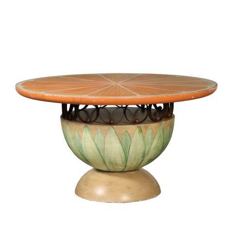 Antiquites Table Ronde Bois Laque Fer Italie Soetenu Par Base