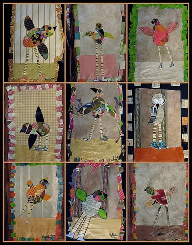 i just love these.  hilariously sweet birds. by my 5th graders.  wall paper scrap paper encyclopedia pages old file folders buttons mod podge lots of imagination  and if you haven't taken a peek at what we've been up to all year.... www.flickr.com/photos/artsyt/sets/72157624918431218/with/...