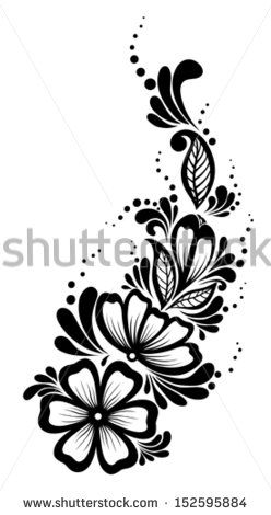 Beautiful floral element. Black-and-white flowers and leaves design element. Floral design element in retro style. Many similarities to the author's profile