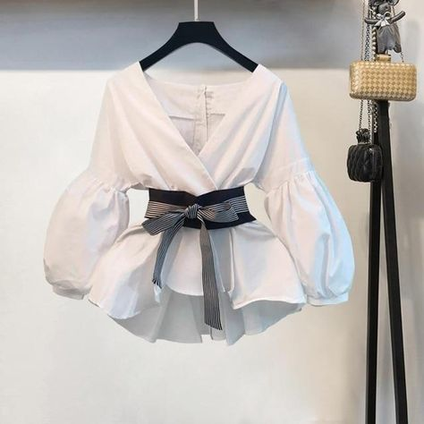 Lantern Sleeve Blouse Shirt and Pant Set - picture color 1 / S
