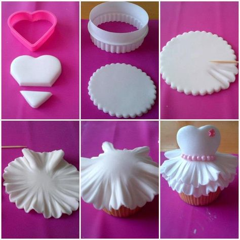 I'd love for someone to make these for my bridal shower! step by step dress on a cupcake