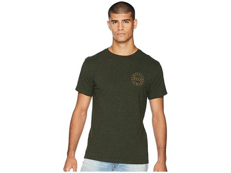 RVCA Public Works Tee (Olive Heather) Men's T Shirt. Get ready for the day with the RVCA Public Works Tee. Regular fit offers comfortable range of motion. Brand logo at chest and back. Crew neck. Short sleeves. Straight hem. 100% cotton. Machine wash  tumble dry. Imported. Measurements: Length: 29 in Product measurements were taken using size MD. Please note that measurements may vary by size. #RVCA #Apparel #Top #TShirt #Olive