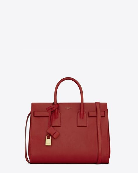 4f4732a5f Saint Laurent Classic Small Sac De Jour Bag In Red Leather   ysl.com ...