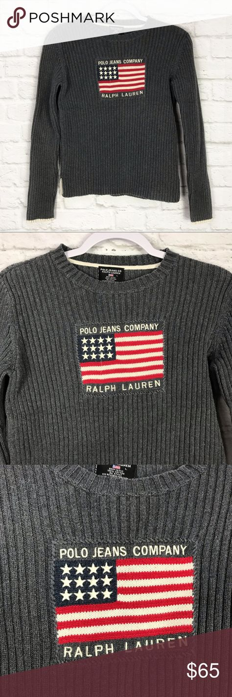 285a1e046efb Polo Jeans Ralph Lauren Gray American Flag Sweater Excellent vintage  condition - some wash wear