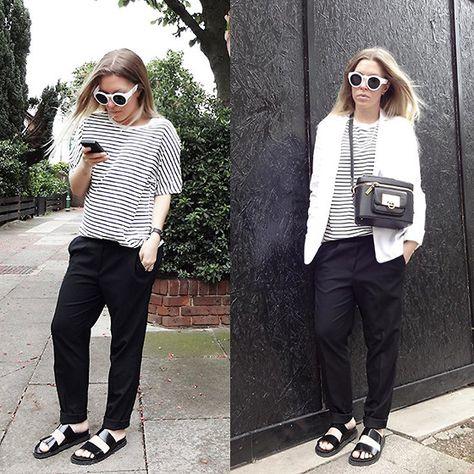 Sheinside Stripe Top, Sheinside White Sunglasses