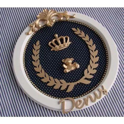 Rei Principe Coroa Placa Urso Porta Maternidade Bebê Ursinho - R$ 120,00