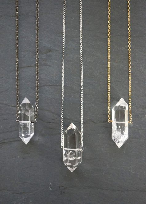 Stunning Herkimer crystals suspended on your choice of: sterling silver, gold filled or gunmetal chain. Great piece to layer with other necklaces and elegant enough to wear on its own.