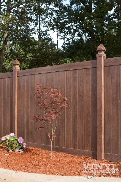 Brown vinyl privacy fence Gray Vinyl Pinterest 39 Best Vinyl Fencing Images Vinyl Fencing Front Fence Front Gardens