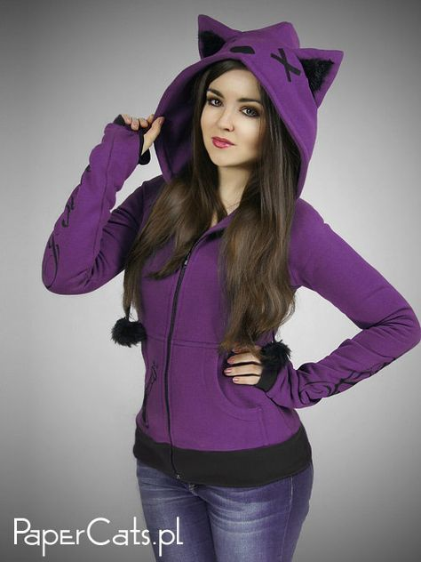 Purple cat hoodie ears animal kitty poison Violet