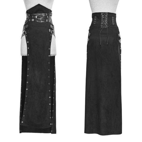 PUNK RAVE Women's Skirts & Shorts Women's Steampunk Buckle Up Side Slit Maxi Skirt