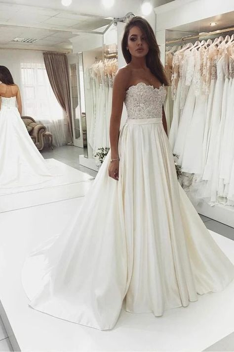 White sweetheart lace satin long prom dress, white lace evening dress – FLYDP