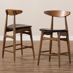 Baxton Studio Flora 24 In Black Counter Stool Set Of 2 In 2020