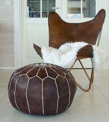Moroccan Pouf Dark Leather Ottoman Footstool High Quality Best