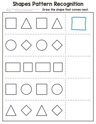 Shapes Pattern Recognition For Kindergarten Pattern Worksheets