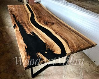 Epoxy Resin Dining Table Large Kitchen Table With River Table Top In 2021 Resin Table Live Edge Dining Table Epoxy Resin Table