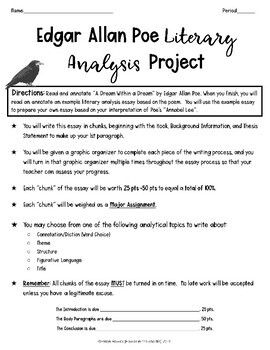 Edgar Allan Poe Literary Analysis Tda Writing Assignment