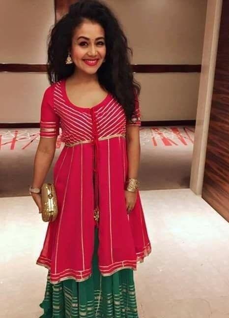 Neha Kakkar In Pink And Green Lehenga Suit Cotton Silk Lehenga Choli Party Wear Lehenga Choli Wedding Lehenga Ch Green Lehenga Neha Kakkar Dresses Lehenga Suit