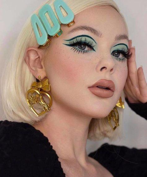70s Makeup, Retro Makeup, Makeup Eye Looks, Creative Makeup Looks, Eye Makeup Art, Vintage Makeup, Fall Makeup, Cute Makeup, Skin Makeup