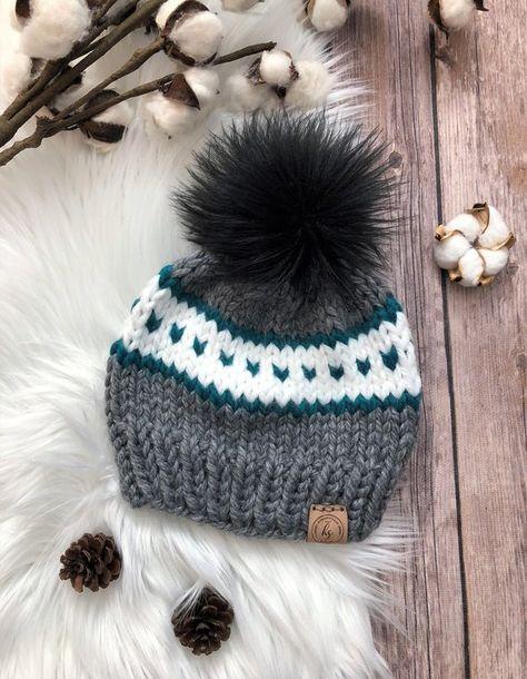 d5dcc079e49 CHILD (3-7 yrs) Faux Fur Pom-Pom Hat Valentine s Day Gift Gray Knit Hat Black  Pom Pom Beanie Beanie