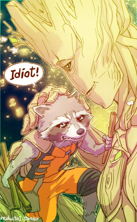 """Rocket & Groot """"I'm not crying ..."""" - Hey, A-Holes, Come Enjoy This Awesome Selection of GOTG Fan Art 