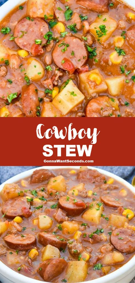 Meat Recipes 90920 *NEW* Cowboy stew is full of wholesome veggies and tender succulent varieties of savory meat that mingle to create an unmistakably crave-worthy flavor. Slow Cooker Recipes, Crockpot Recipes, Cooking Recipes, Easy Crockpot Soup, Slow Cooker Soup, Bon Dessert, Healthy Soup Recipes, Healthy Fall Soups, Salad Recipes