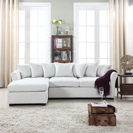 Linen Fabric L Shape Couch With Left Chaise Lounge Beige Walmart Com Fabric Sectional Sofas Sectional Sofas Living Room Sectional Sofa