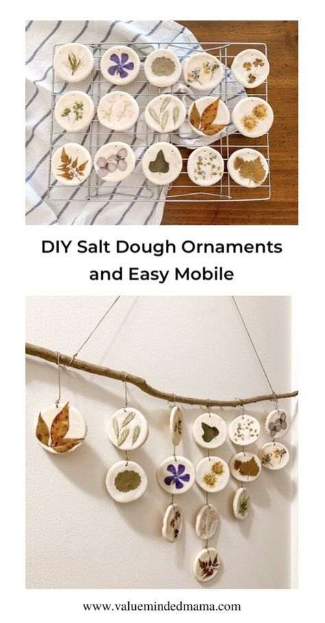 DIY Salt Dough Ornaments and Easy Mobile — Value Minded Mama Autumn Crafts, Nature Crafts, Holiday Crafts, Outside Activities For Kids, Craft Activities, Nature Activities, Toddler Crafts, Crafts For Kids, Arts And Crafts