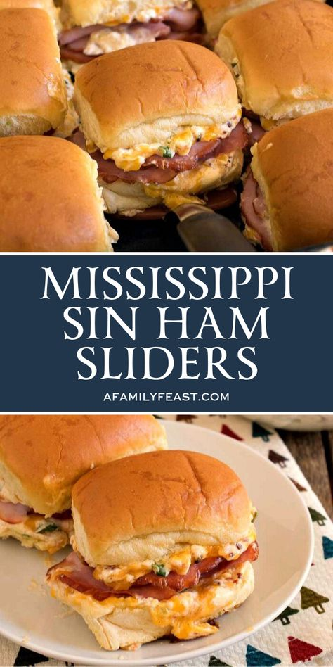 Our delicious Mississippi Sin Ham Sliders are a delicious new variation on the addictively-good Mississippi Sin Dip with chopped ham that so many people know and love. These sliders can be made ahead Slider Recipes, Pork Recipes, New Recipes, Cooking Recipes, Favorite Recipes, Recipes Using Ham, Recipies, Amish Recipes, Dutch Recipes