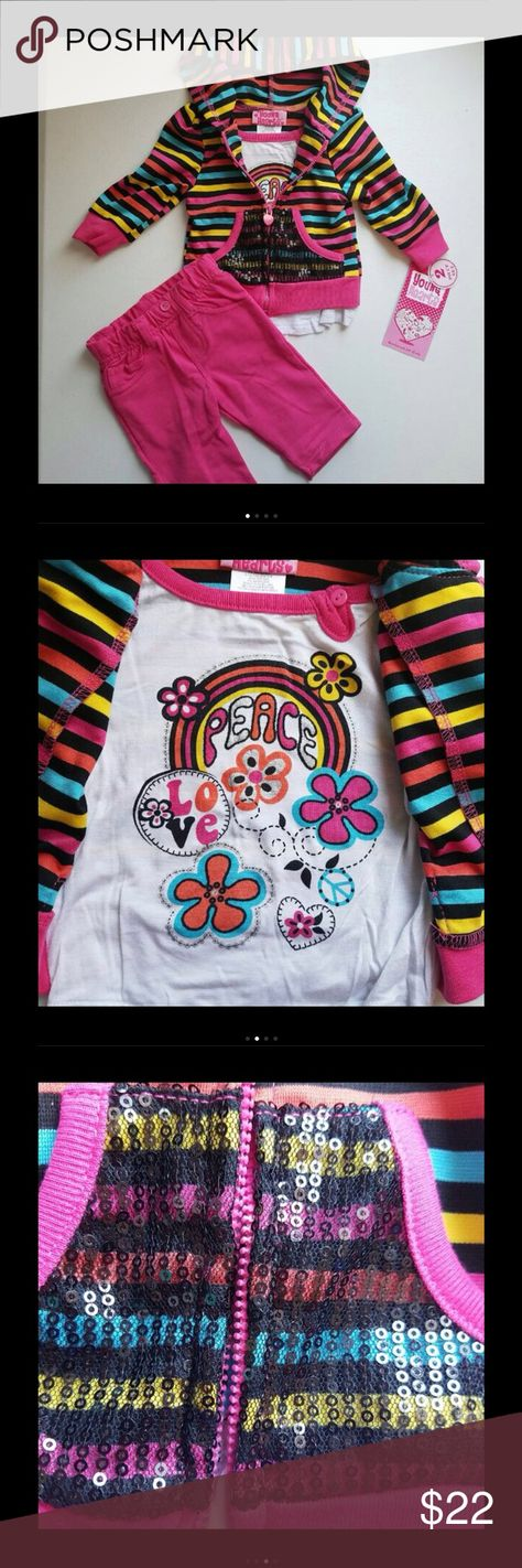 884fd3b4e0da Young Hearts Hoodie Outfit Set Cute multicolor striped hoodie with sewn in  Peace tee and matching pink pants. Size 3-6m. PRICE IS FIRM unless bundled.