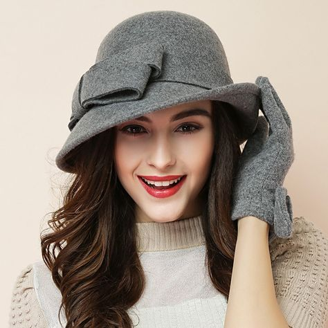 F FADVES Women Solid Color 100/% Wool Winter Hat Women Cloche Bucket Bowler with Bowknot