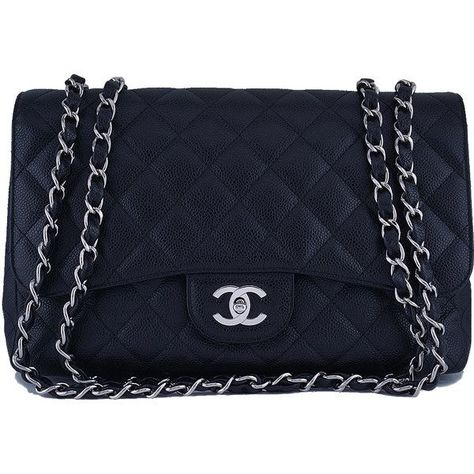 e19aefa36a71a8 Pre-Owned Chanel Black Caviar Jumbo 2.55 Classic Flap Bag ($4,299) ❤ liked  on Polyvore featuring bags, handbags, black, quilted chain purse, zipper  coin ...