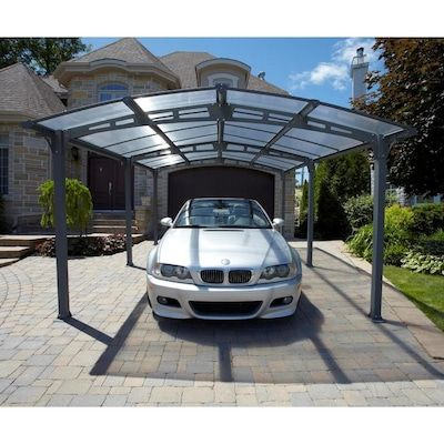 Gazebo Penguin 10 75 Ft X 16 5 Ft Grey Metal Carport Lowes Com In 2020 Metal Carports Gazebo Carport Designs