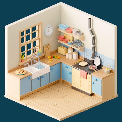 Isometric Art, Isometric Design, Blender 3d, Art Design, Interior Design, Room Planning, Behance, Low Poly, Kitchen Design