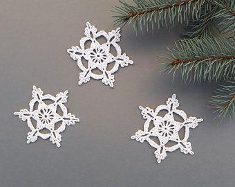 Crochet Snowflakes Christmas Decors Xmas Tree Ornaments Wedding Decors Appliques Set Of 6 White Christmas Ornaments Crochet Snowflakes Xmas Tree Ornament
