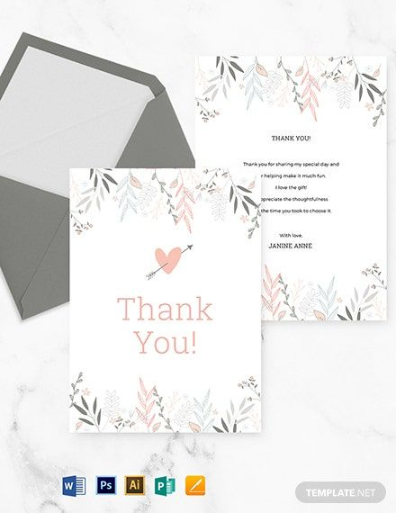 Instantly Download Floral Bridal Shower Thank You Card Template Sample Example In Microsoft Word Doc Thank You Card Template Card Template Thank You Cards