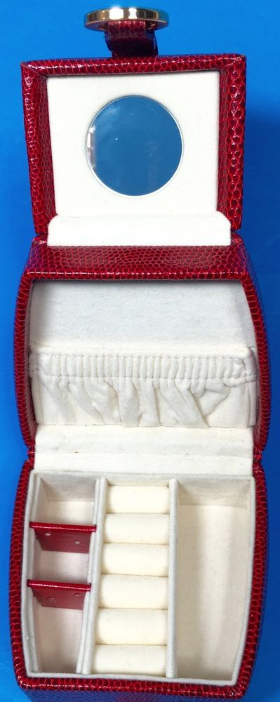 Red Travel Jewelry Organizer Case Hard Sided TriFold Velvet Lined