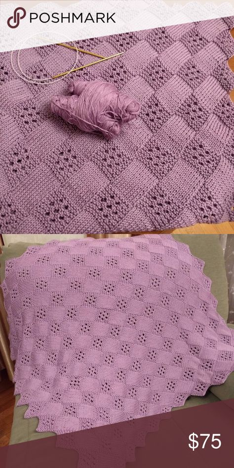 Hand Knitted Baby Blanket 100 Pima Cotton Knitted Baby Blanket Baby Knitting