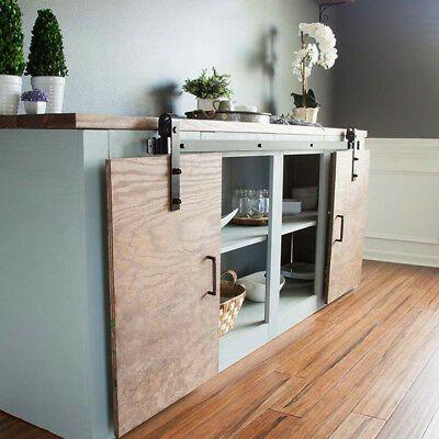 6 6ft Mini Small Sliding Barn Door Hardware Kit Cabinet Tv Stand J Shape Bauernhaus Mobel Haus Bauernhaus Innenbereich